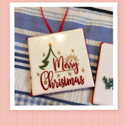 MERRY CHRISTMAS TREE Ceramic Tile Ornament Christmas Gift Tree Decor Stocking Stuffer Christmas Holiday Home Decor Gift Idea Handmade Country Farmhouse Campers RV - JAMsCraftCloset