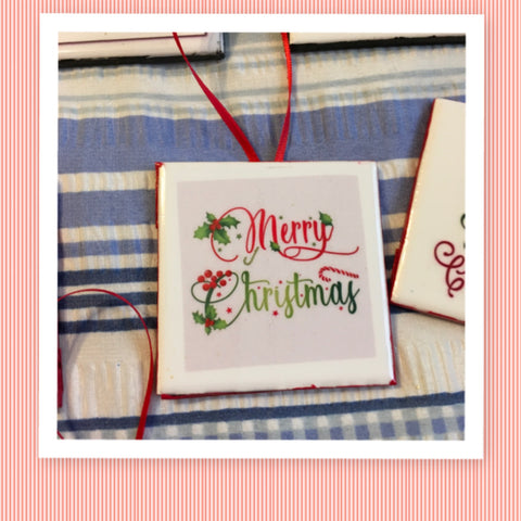 MERRY CHRISTMAS Red and Green Ceramic Tile Ornament Christmas Gift Tree Decor Stocking Stuffer Christmas Holiday Home Decor Gift Idea Handmade Country Farmhouse Campers RV - JAMsCraftCloset