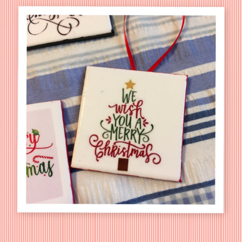 WE WISH YOU A MERRY CHRISTMAS Ceramic Tile Ornament Christmas Gift Tree Decor Stocking Stuffer Christmas Holiday Home Decor Gift Idea Handmade Country Farmhouse Campers RV - JAMsCraftCloset