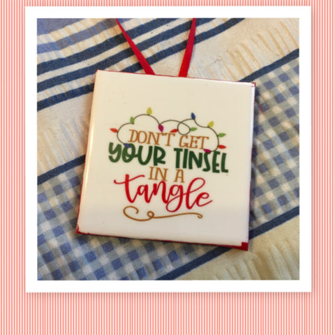 TINSEL IN A TANGLE Ceramic Tile Ornament Christmas Gift Tree Decor Stocking Stuffer Christmas Holiday Home Decor Gift Idea Handmade Country Farmhouse Campers RV Home  - JAMsCraftCloset
