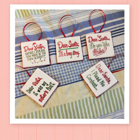 DEAR SANTA Ornament Ceramic Tile Decal Christmas Holiday Decor Gift Idea Stocking Stuffer Handmade Country Farmhouse Campers RV Home and Living  - JAMsCraftCloset