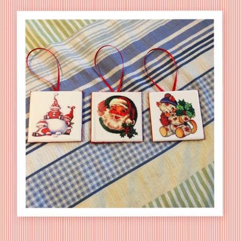 Ornaments Vintage Design Ceramic Tile 3 by 3 Inches Set of 3 Vintage Children Santa Cat Christmas Tree Decor Gift Idea Stocking Stuffers - JAMsCraftCloset