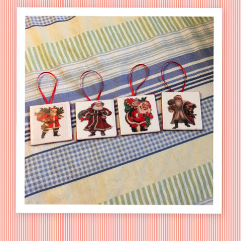 Ornaments Vintage Santa Ceramic Tile 3 by 3 Inches Set of 4 Christmas Tree Decor Gift Idea Stocking Stuffer - JAMsCraftCloset