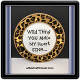 Plate Hand Painted Upcycled Positive Saying WILD THING HEART SING Leopard Chic Gift