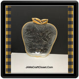 Apple Candy Dish Clear Glass Trimmed in Gold Embossed Floral Design Vintage Paper Teacher Gift - JAMsCraftCloset