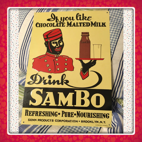 Black American DRINK SAMBO MALTED MILK Sign REPRODUCTION Still Vintage Kitchen Decor - JAMsCraftCloset