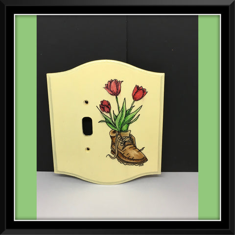 Switch Plate Hand Painted Pen and Ink Single Light Cream with Boot With Red Tulips Gift