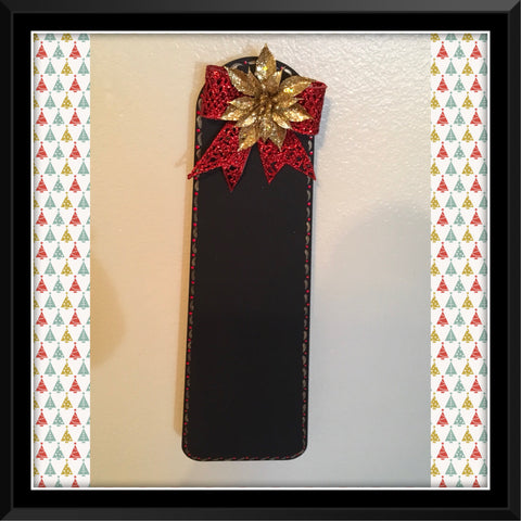 Chalkboard Christmas RED Glitter Bow GOLD Poinsettia Upcycled Fan Blade Wall Art Holiday Decor Gift - JAMsCraftCloset