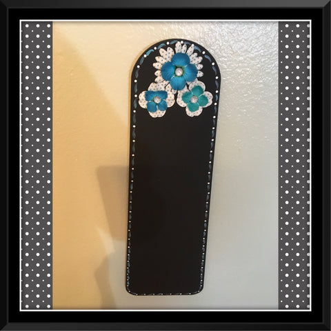 Chalkboard Deep Aqua With Polks Dots White Upcycled Fan Blade Wall Art Home Decor Gift - JAMsCraftCloset