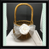 Basket Flower Girl Wedding Vintage Handmade Natural Round Wicker White Floral Accent - JAMsCraftCloset