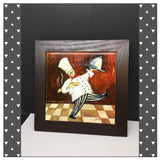 Fat Chef With Tray and Bread Ceramic Framed Tile Wall Art Kitchen Bar Decor