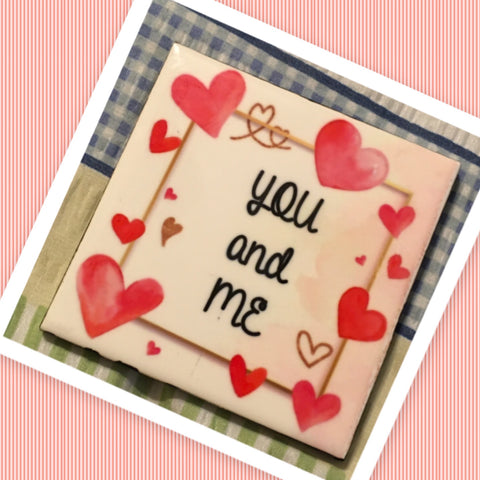 YOU AND ME Wall Art Ceramic Tile Sign Gift Idea Home Decor Positive Saying Quote Handmade Sign Country Farmhouse Gift Campers RV Gift Home and Living Wall Hanging - JAMsCraftCloset