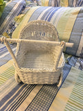 Bassinet White Wicker Vintage 9 by 11 Inches Baby Shower Baby Decor - JAMsCraftCloset