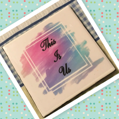 THIS IS US Wall Art Ceramic Tile Sign Gift Idea Home Decor Positive Saying Quote Handmade Sign Country Farmhouse Gift Campers RV Gift Home and Living Wall Hanging - JAMsCraftCloset