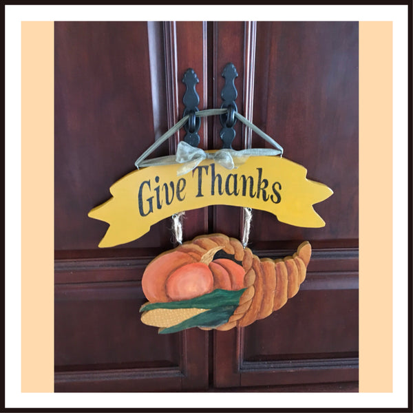 GIVE THANKS Wooden Cornucopia Handmade Hand Painted One of a Kind Wall Art FOLK ART Flour Sack Tea Towels Kitchen Decor Gift Idea Handmade JAMsCraftCloset