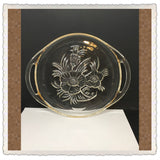 Plate Tray Clear Pressed Glass Open Handles Floral Design Dessert Cookie Tort Snack Plate