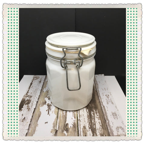 Canister Flip Top White Milk Glass Jar Vintage 6 In Tall Bale With White Rubber Seal  Gift - JAMsCraftCloset