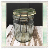 Canister Flip Top Green Glass Jar Vintage 6 In Tall Storage White Rubber Seal - JAMsCraftCloset