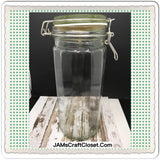 Canister Flip Top Green Glass Jar Vintage 10 In Tall Storage White Rubber Seal - JAMsCraftCloset