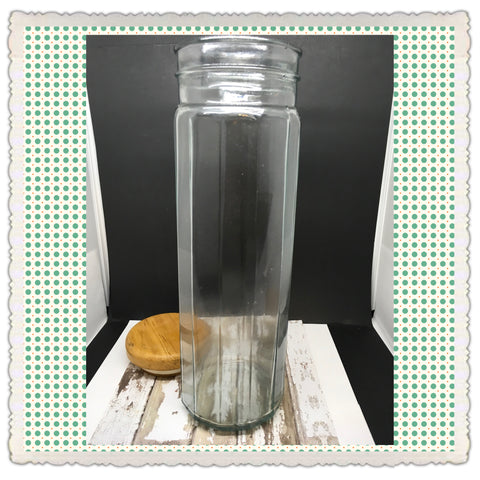 Canister Green Glass Jar Vintage 12 1/2 In Tall Storage Needs TLC - JAMsCraftCloset
