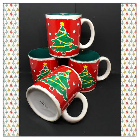 Mugs Vintage Christmas Tree K.I.C. Made in Korea Set of 4
