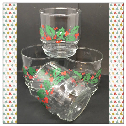 Glasses Juice Vintage Clear Glass Christmas Holly Berry c.1980 by Libbey Crystal Set of 4
