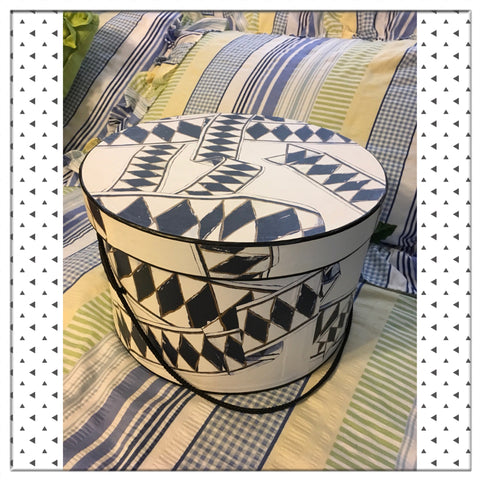 Hat Box Hatbox Round Black White Gold Geometric Design Cardboard Storage Home Decor