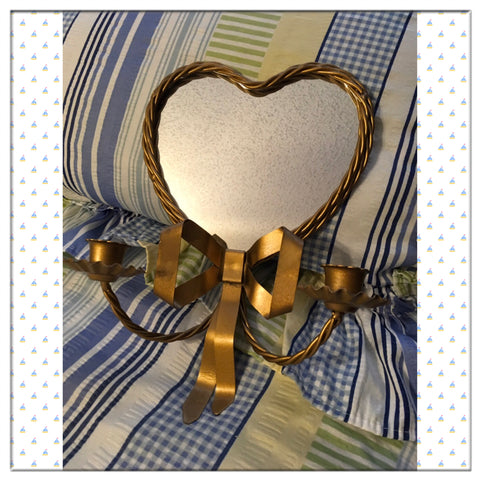 Candlestick Votive Holder Twisted Wire Bow Mirrored Heart Sconce Vintage Gold - JAMsCraftCloset