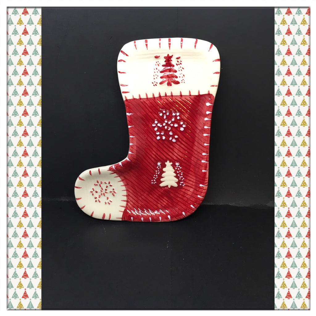 Candy Dish Christmas Holiday Red White Stocking Vintage Home Decor Gift Idea - JAMsCraftCloset