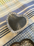 Trinket Box Vintage Heart Shaped Silver Plate Top Leaded Glass Bottom Vintag