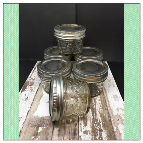 Canning Ball Glass Jar Vintage 4 Ounce 2 Inches Tall 2 1/2 Inches in Diameter Gift SET OF 6 - JAMsCraftCloset