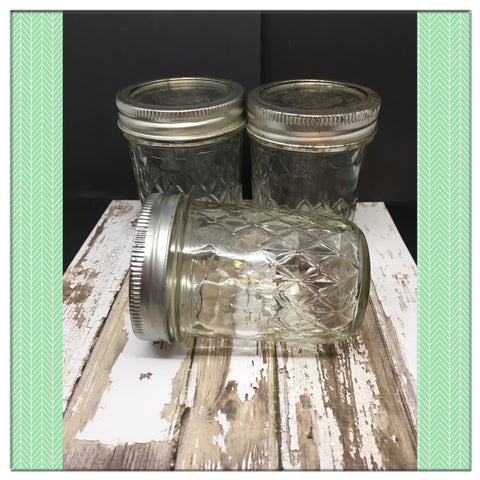 Canning Ball Glass Jar Vintage 8 Ounce 4 Inches Tall 2 1/2 Inches in Diameter Gift SET OF 3 - JAMsCraftCloset
