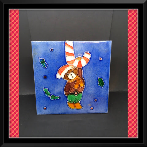 Wall Art Embossed Christmas Teddy Bear Hanging from Candycane Ceramic Tile 6 by 6 Inch Shelf Sitter