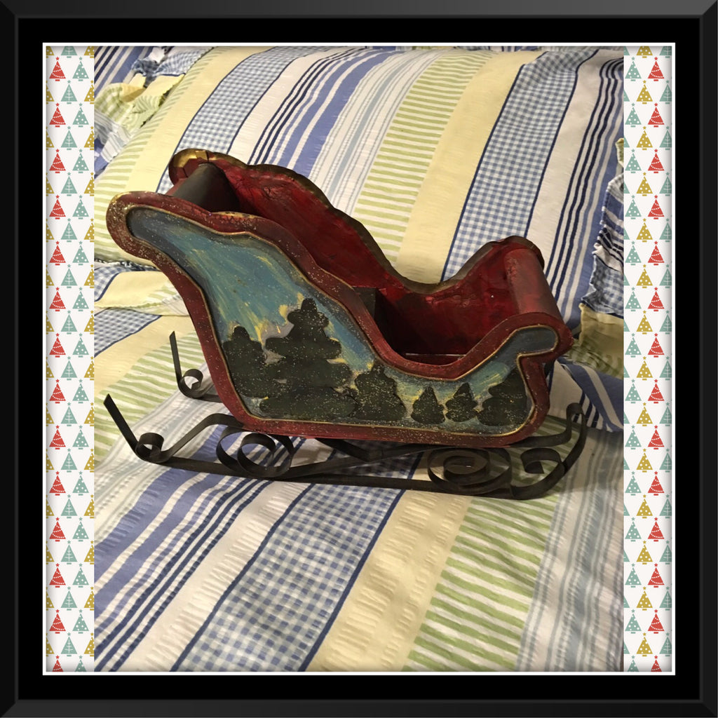 Sleigh Red and Green Hand Painted Pine Trees Tin Vintage Holiday Decor Centerpiece Gift Idea