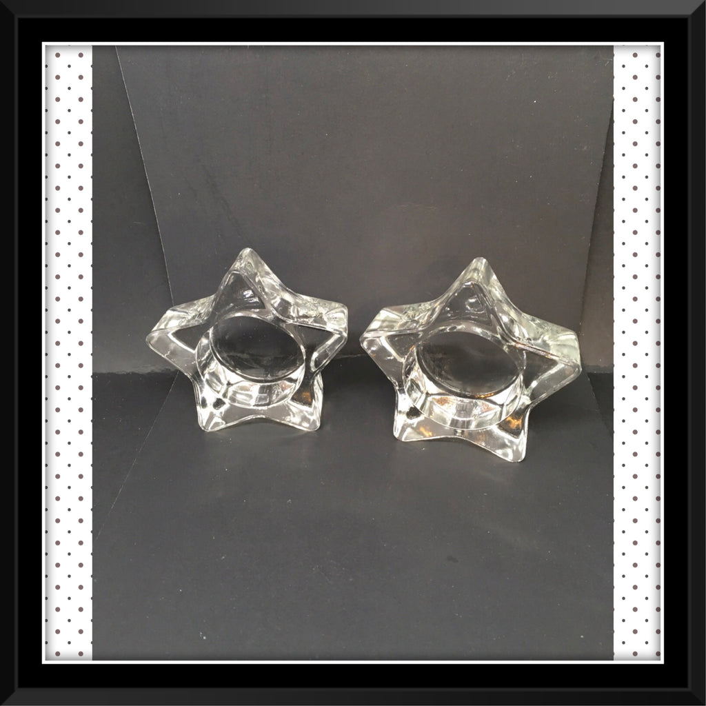 Candle Holder Pointed Star Tealight Tea Light Vintage Clear Glass Romantic Lighting Set of 2 - JAMsCraftCloset