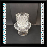 Candle Holder Votive Vintage Diamond Point Clear Glass Shelf Sitter Home Decor - JAMsCraftCloset