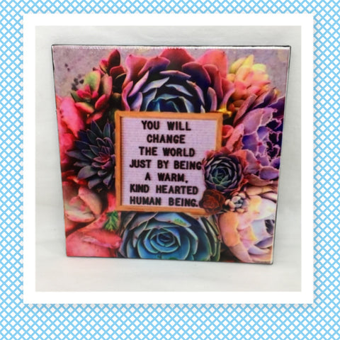 YOU WILL CHANGE THE WORLD Wall Art Ceramic Tile Sign Gift Idea Home Decor Positive Saying Affirmation Gift Idea Handmade Sign Country Farmhouse Gift Campers RV Gift Home and Living Wall Hanging - JAMsCraftCloset