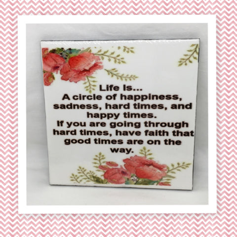 LIFE IS... Wall Art Ceramic Tile Sign Gift Idea Home Decor Positive Saying Affirmation Gift Idea Handmade Sign Country Farmhouse Gift Campers RV Gift Home and Living Wall Hanging - JAMsCraftCloset