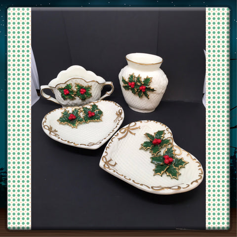 Dish Heart Shaped Vases Holiday Vintage Embossed Trinket Plate Holly Berries Bows