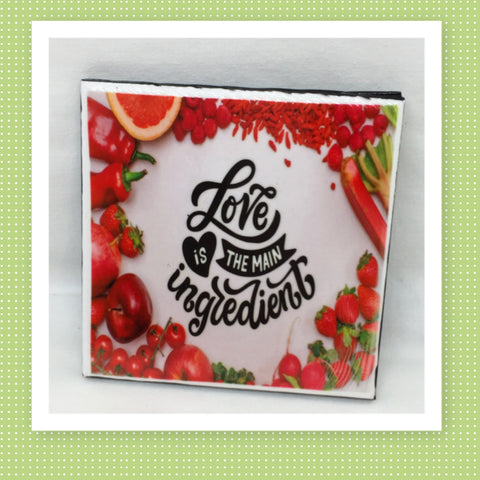 LOVE IS THE MAIN INGREDIENT Wall Art Ceramic Tile Sign Gift Idea Home Kitchen Decor Positive Saying Quote Affirmation Handmade Sign Country Farmhouse Gift Campers RV Gift Home and Living Wall Hanging - JAMsCraftCloset