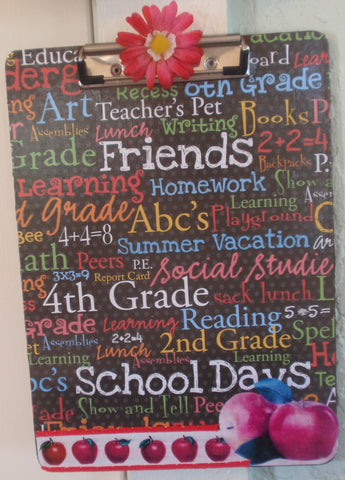 Clipboard Handcrafted Multi Colored Teacher School Print Design - JAMsCraftCloset