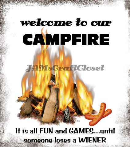 WELCOME TO OUR CAMPFIRE WEINER - DIGITAL GRAPHICS  This file contains 6 graphics...  My digital SVG, PNG and JPEG Graphic downloads for the creative crafter are graphic files for those that use the Sublimation or Waterslide techniques - JAMsCraftCloset