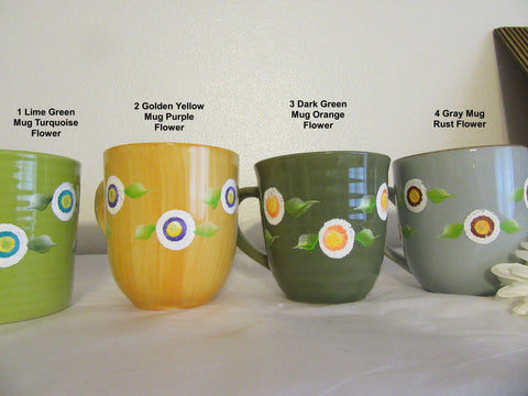 Mugs Cups Floral Coffee Hand Painted HAPPY DOT Floral Design - JAMsCraftCloset