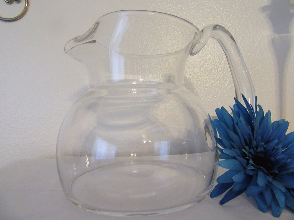 Pitcher Clear Glass Water Tea Juice Vintage No Markings Handmade Handle - JAMsCraftCloset