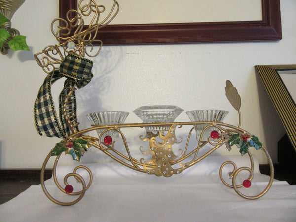 Reindeer 3 Candle Holder Vintage Wire Holiday With Christmas Tree Holly Berries Centerpiece - JAMsCraftCloset