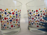 Glasses Rock Water or Drinking Hand Painted Clear Glass Polka Dot Red, Blue, Orange, Green, Yellow Dots Set of Two - JAMsCraftCloset