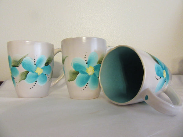 Mugs Floral Gray Hand Painted Aqua Inside Mug BUY 2 Get 1 FREE - JAMsCraftCloset