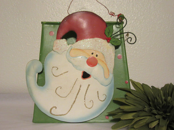 Basket Santa Tin Wobbly Head Vintage Green Curly Wire Bead Handle Christmas Decoration - JAMsCraftCloset