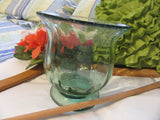 Vase Green Glass Short Flower Vintage Handblown Small - JAMsCraftCloset