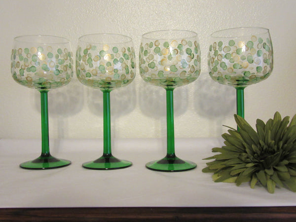 Glasses Crystal Green Stems Luminarc Emeraude Pattern Hand Painted Vintage  Made in France Set of 4 - JAMsCraftCloset